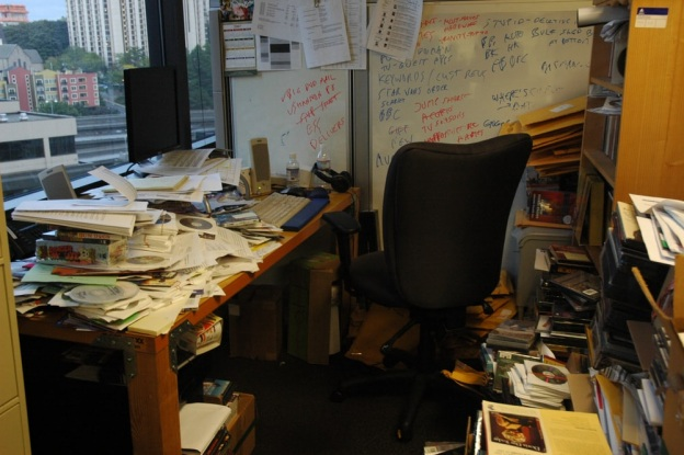 A messy office room that needs detailed commercial cleaning services in Naperville